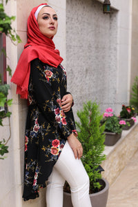 Dovetail Blouse with Print Flower Fabric - Black Color