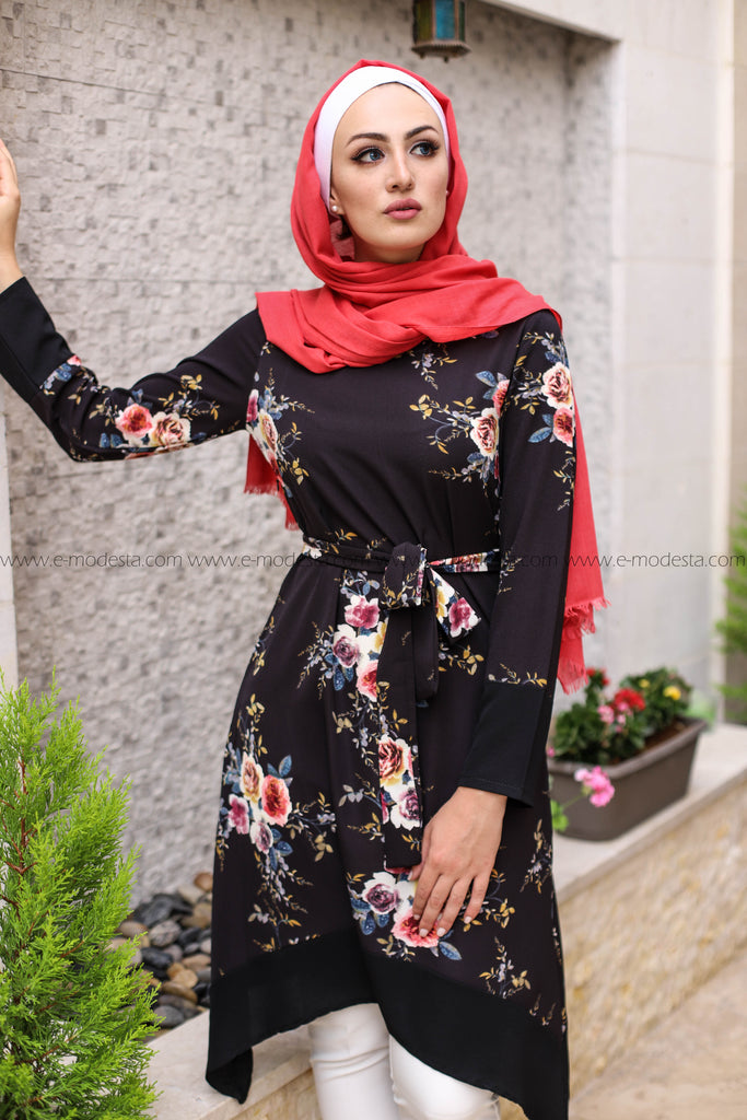 Long Floral Tunic with Belt - E-Modesta