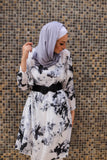 Vintage Grey-scale Printed Loose Long Tunic