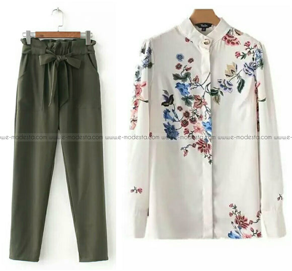Green Pants and Floral Printed Shirt Outfit