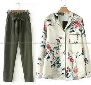 Green Pants and Vintage Printed Shirt Outfit