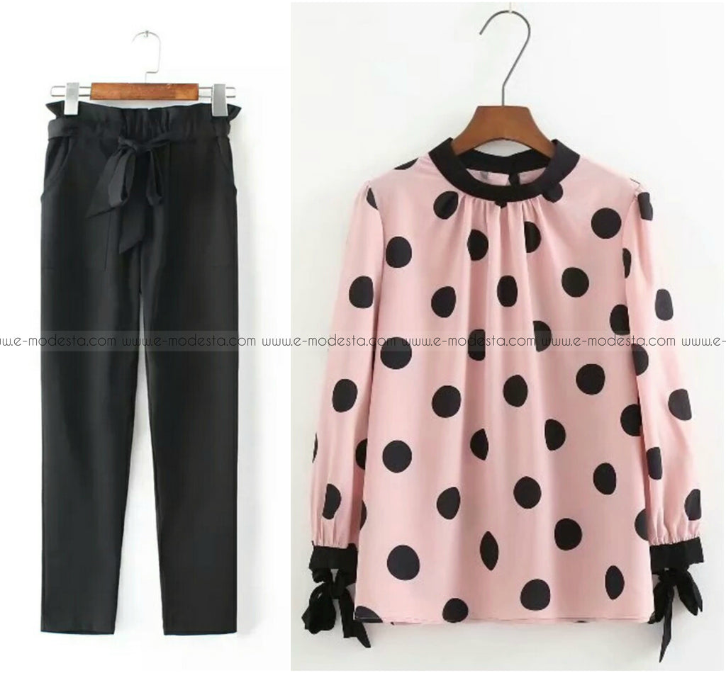 Black Pants and Large Polka Dot Blouse Outfit - E-Modesta