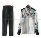 Black Pants and Blue Printed Shirt Outfit - E-Modesta
