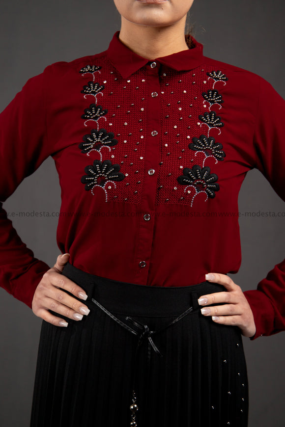 Wine Red Embroidery Shirt | Floral Pattern