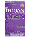 Trojan Her Pleasure Ecstasy Condoms - Box Of 10
