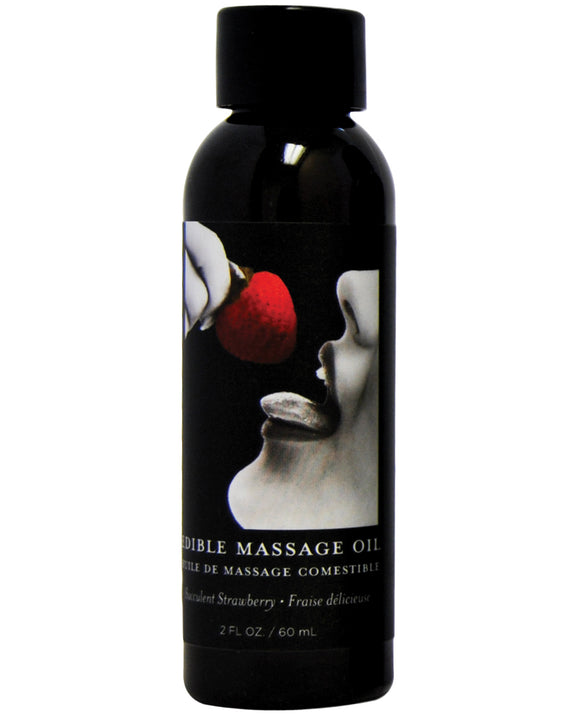 Earthly Body Edible Massage Oil - 2 Oz Strawberry