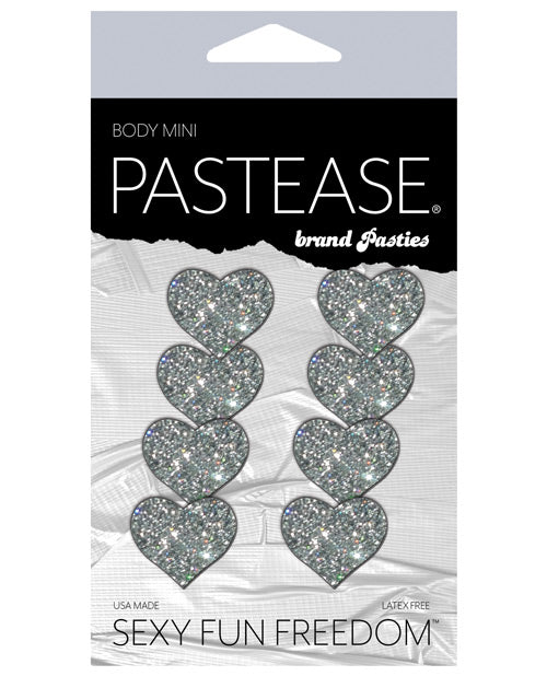Pastease Mini Glitter Hearts - Silver Pack Of 8