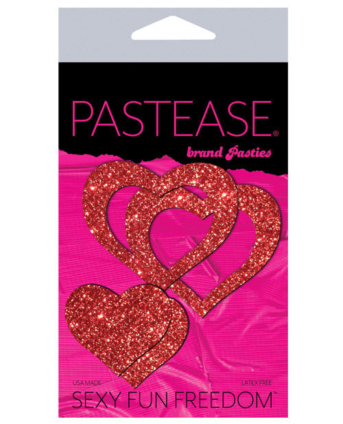 Pastease Glitter Peek A Boob Hearts - Red O-s