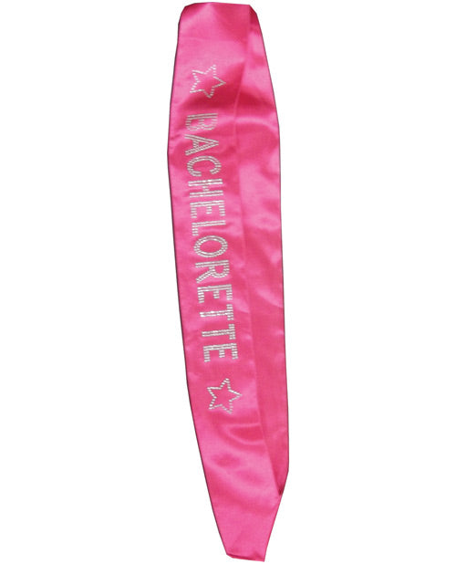 Bachelorette Sash W-crystals - Hot Pink
