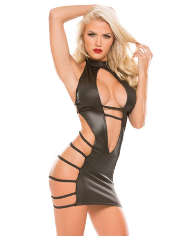Kitten Pleasure Plunge Strappy Dress Black O-s