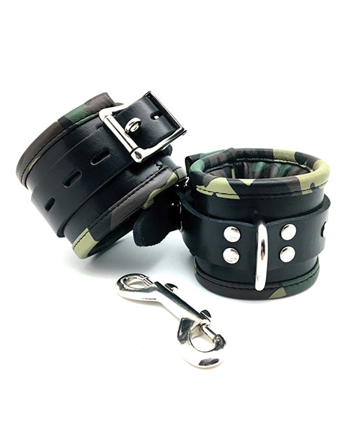 Sensual Sin Leather Padded Wrist Cuffs - Camo Piping