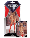 Sheer Thigh Highs W-back Seam Red O-s