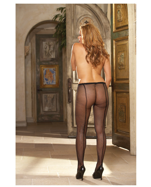 Fishnet Pantyhose W-back Seam Black Qn