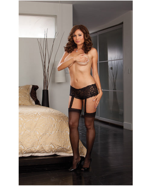 Stretch Lace Shorts W-attached Sheer Thigh High Stockings Black Qn