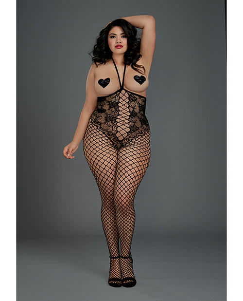Open Cup Open Crotch Bodystocking W-knitted Lace Teddy Design Black Qn