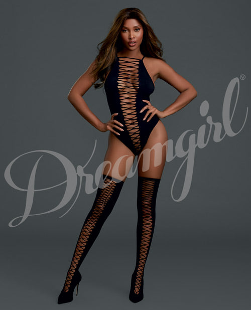 Cross Open Front Teddy W-matching Thigh Highs Black O-s