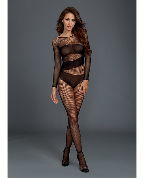 Stretch Fishnet Long Sleeved Bodystocking, Worn On Or Off The Shoulder Black O-s