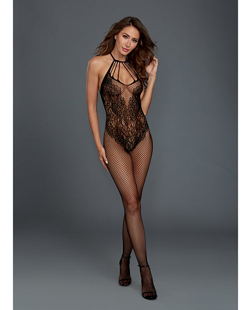 Fishnet Bodystocking W-knitted Teddy Design Black O-s