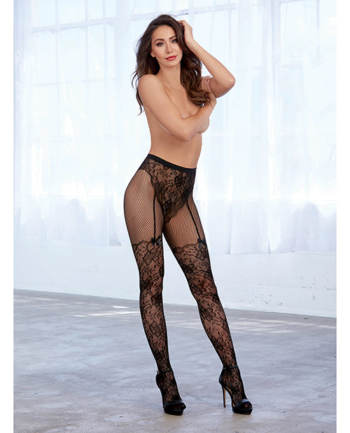 Lace & Fishnet Pantyhose W-knitted High Waist Lace Panty & Thigh High Design Black O-s