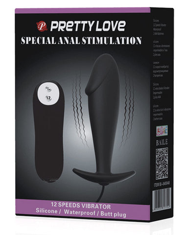 Pretty Love Vibrating Penis Shaped Butt Plug - Black