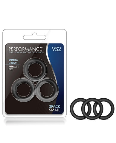 Blush Performance Vs2 Pure Premium Silicone Cockrings Small - Black