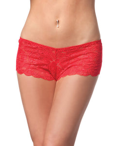 Low Rise Stretch Scallop Lace Booty Short Red O-s