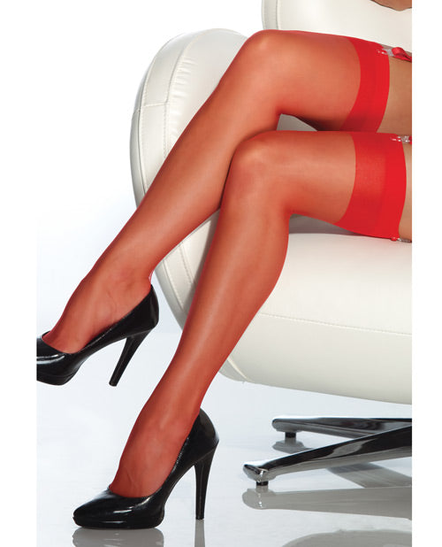 Sheer Thigh High Stocking Red O-s