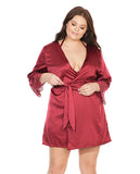 Stretch Satin Robe W-eyelash Lace Sleeve Merlot Os-xl