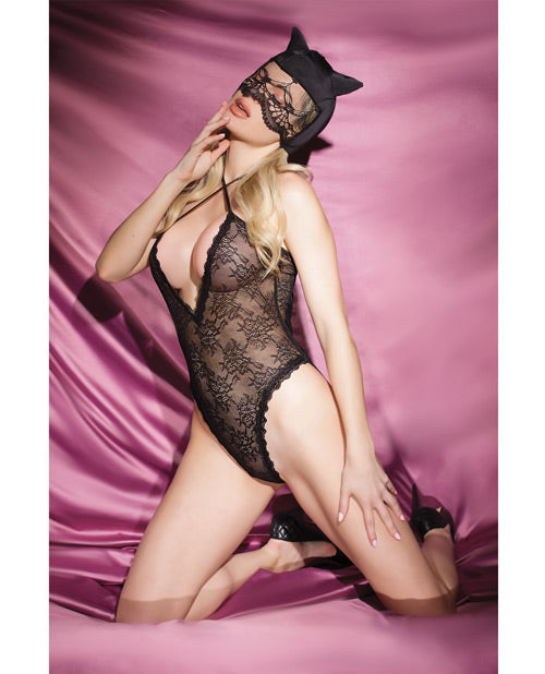 Fashion Stretch Lace Kitty Teddy & Mask Black O-s