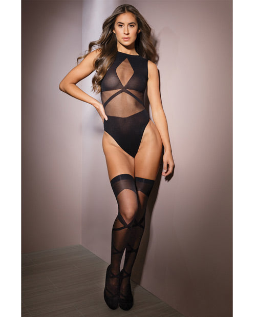 Sleek Sheer Nylon Opaque Print Sleeveless Teddy & Stockings Black O-s