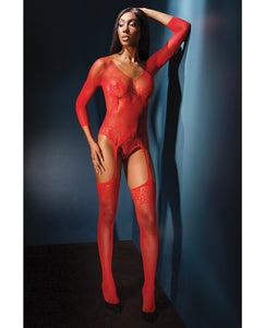 Sleek Seamless Stretch Net Long Sleeve Teddy W-attch. Stockings Red O-s
