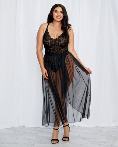 Stretch Lace Teddy & Sheer Mesh Maxi Skirt W-adjustable Straps & G-string Black 3x
