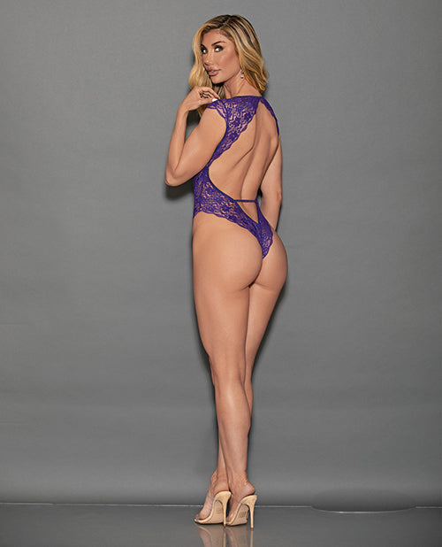 Euphoria Lace Teddy W-cap Sleeves & Open Back Midnight Purple O-s