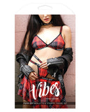 Vibes Fuck Off  Bralette & Thong Plaid S-m