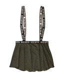 Vibes Boss Bitch Suspender Skirt Black-gold M-l