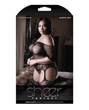 Sheer Fantasy Dark Heart Teddy Bodystocking Black Qn