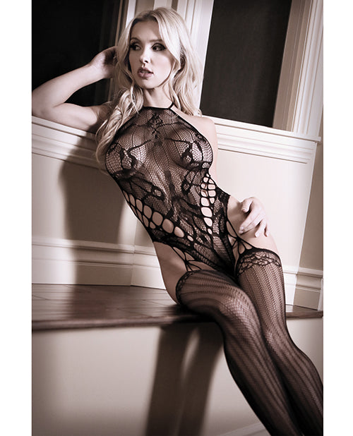 Sheer Fantasy Goodnight Kiss Caged Halter Teddy W-attached Stockings Black O-s