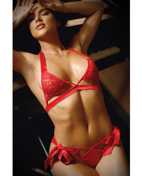 Vixen Cutout Lace Bra & Side Tie Panty Red L-xl