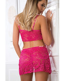 Laced Lingerie Bustier, Thong & Cover Up Slip Berry Kiss O-s