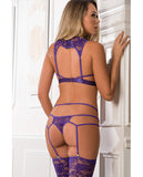 Sheer Lace Garter Bodysuit & Laced Stockings Grape O-s