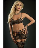 Playfull Garter Zip Skirt, Top & Stockings Black O-s
