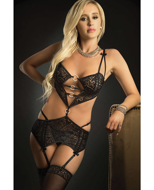 Low Rise Waist Garter W-connected Cropped Top & Stockings Black O-s
