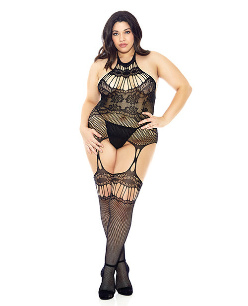 Halter Fishnet Bodystocking Black Qn