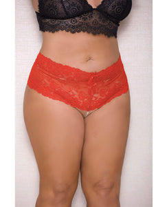 Lace & Pearl Boyshort W-satin Bow Accents Red 3x-4x