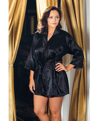 Satin 3-4 Sleeve Robe W-matching Sash Black 1x-2x