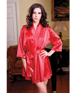 Satin 3-4 Sleeve Robe W-matching Sash Red L-xl