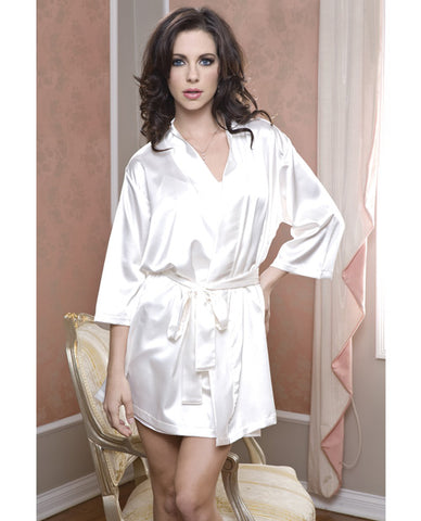 Satin 3-4 Sleeve Robe W-matching Sash White L-xl