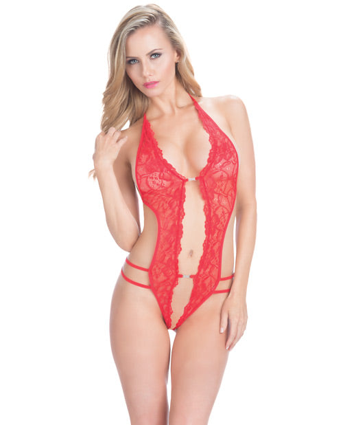 Crotchless Lace Teddy W-rhinestone Detail Red O-s