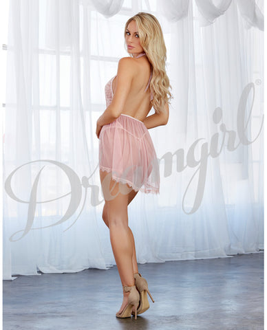 Lace & Sheer Skirted Teddy Pink Champagne O-s