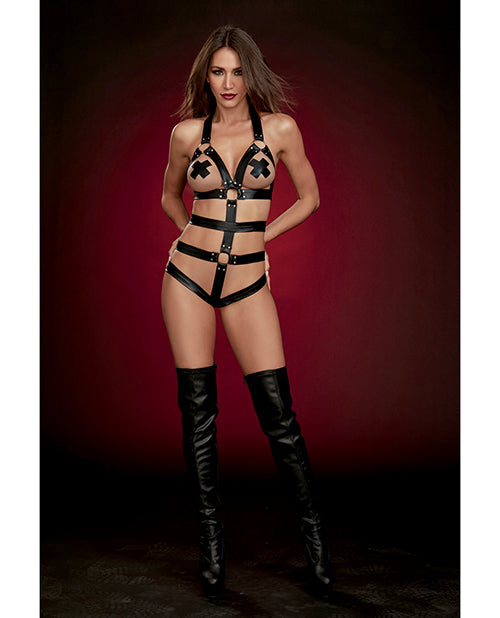 Fetish Strappy Faux Leather Teddy W-attached Wrist Restraints Black O-s